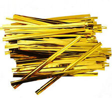 "80-Pcs Metallic Gold Twist Ties Wire for Cello Bags Cake Pops 6"" Crafts Hobby A6"