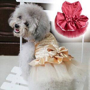 Pet Dog Cat Bow Dress Lace Skirt Puppy Princess Costume Apparel Clothes Hot