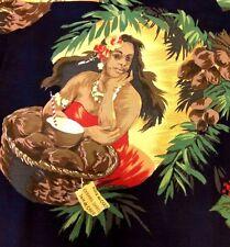 Gerard Darel Coconut Fruit Hula Girl Womens Hawaiian Shirt Blouse France Sz 40