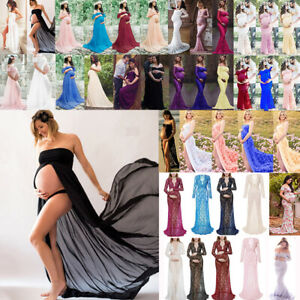 Womens Pregnant Maternity Lace Dress Gown Party Long Dress Photography Shooting