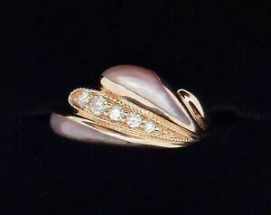 Kabana Rose Gold Diamond and Mother of Pearl Inlay Ring Size 5