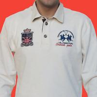 La Martina British Men's Polo Shirt Off-White Long-Sleeve Heavy L RRP EUR 239.00