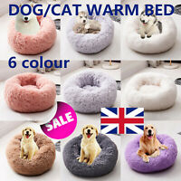 Pet Dog Cat Calming Bed Warm Plush Round Nest Comfortable Kennel Cave UK