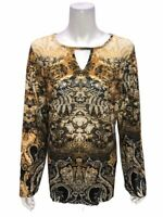 Attitudes by Renee Printed Jersey Knit Keyhole Tunic Top Natural Large Size
