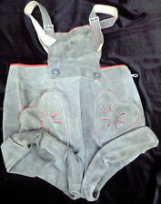 Vintage 1930s-50s Authenic Suede Lederhosen Children HEART POCKETS Boy Girls 5/6