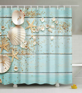 Seashell Aqua Wood Boards Planks Fabric SHOWER CURTAIN Rustic Sand Beach Shells