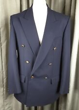 Marks & Spencer Wool Blend Navy Blue Double Breasted Gold Button Blazer C40M