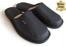 Herren LEDER Hausschuhe Pantoffeln Schlappen Latschen schwarz, Gr. 41 - 46