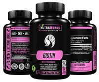 BIOTIN Extra Strength 10,000 mcg Supports Healthy Hair Skin Nails 60 VEGGIE CAPS