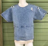 NWT ZARA MAN Blue Rip denim sweatshirt short sleeve pouch pocket size M $69