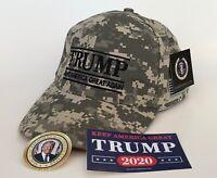 President Donald Trump Hat ...Make America Great Again...Digital Camo + 2 Decals