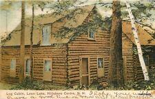 1907 Hillsboro Centre New Hampshire Log Cabin Loon Lake Butler postcard 4648
