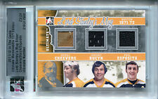 2011-12 ITG Ultimate GERRY CHEEVERS PHIL ESPOSITO BUCYK Triple Jersey Pad SP /24