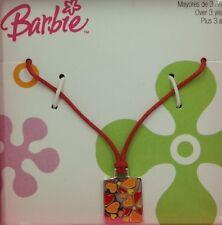 Collar para niñas Barbie en plata de ley. Naranja y rojo.