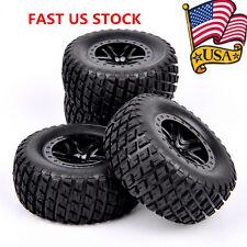 4Pcs RC 1:10 Short Course Rubber Tire Wheel Rims For TRAXXAS SLASH HPI Truck US