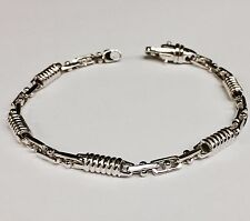"14kt Solid White Gold Handmade Link Men's Bracelet 7.5""  5 MM  16 grams"