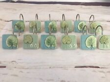 Set of 12 Shower Curtain Hooks Blue/Green leaves