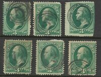 """Fancy Cancels """"Numbers 1 2 5"""" 3 Cent Green Banknote 1871-1883 US Stamps 9341"""