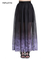 Hell Bunny Spin Doctor Goth Purple Mystical EVADINE Maxi Skirt All Sizes