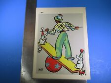 Vintage May Colorful Clown Balancing with Dogs Art #185 Pressed Image S5321