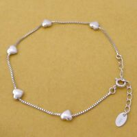 Genuine 925 Sterling Silver Adjustable Puffy Love Hearts Bracelet on Box Chain