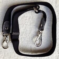 """TOD'S"" black web & gray emb.leather shoulder strap, chrome hdwr:1/8x1.25x25-40"""
