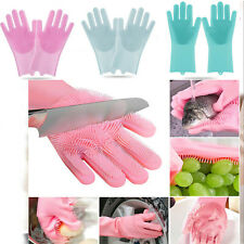 1Pair Magic Silicone Dishwashing Scrubber Rubber Scrub Gloves Kitchen Clean