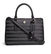 Tory Burch Authentic+new Robinson Perf medium  Double Zip Tote in Black