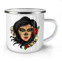 Day Of Dead Cool Skull NEW Enamel Tea Mug 10 oz | Wellcoda