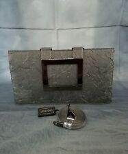 RODO Italian Satin Clutch Metallic Gray Color