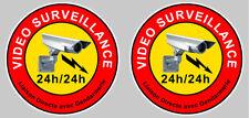2 AUTOCOLLANTS VIDEO SURVEILLANCE PROPRIETE CAMERA SECURITE 9cm STICKER VA046
