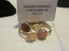 AVON Modern Romance 3Pc Ring Set-Pink & Mauve Faux Stones Set in Goldtone Size10