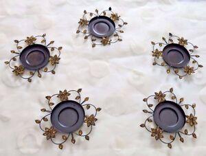 Tealight or Votive Candle Holder Floral Bead Design Violet,Honey Colors Set of 5