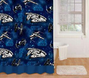 Star Wars Vinyl Shower Curtain Bathroom X-Wing Star Fighter Millennium Falcon