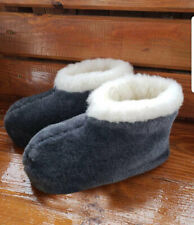 AUTHENTIC GREY MEN'S SHEEPSKIN SHEEP WOOL VELOR PLUSH LOW SLIPPERS ANKLE BOOTS
