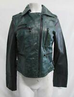 Levi's Women's Distress 2 Tone Green/Black Leather Asymmetrical Moto Jacket Sz M