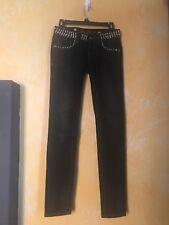 NWOT Designer Miss Me Punk Studded Waistband Black 25 X 32 Skinny Jeans