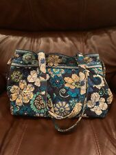 Vera Bradley Side Tie  Medium Snap Tote Mod Floral Blue Good Pre Owned Condition