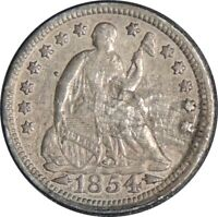 1854-P H10C SEATED SILVER HALF DIME VF DETAILS SCRATCHES OBV / CULL 041521032