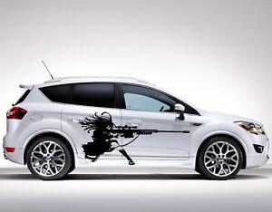 Custom 3# Anime Girl Gun Shooter Vinyl Wrap One Color Decal Car Body Sticker