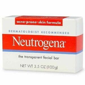3x Neutrogena Transparent Facial Bar- Acne-Prone Skin Formula Soap 3.5oz