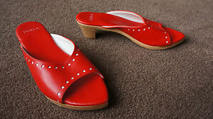AUTH FURLA BRIGHT RED LEATHER CLOGS SANDALS SHOES Sz 39