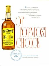 1948 Old Taylor PRINT AD  features Whiskey Vintage Bottle