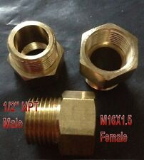 """Pipe Fitting 1/2"""" NPT Male to Metric M16 M16X1.5 Female Brass Adapter N-D3"""