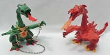 Lot of 2 PLAYMOBIL RED AND GREEN FIRE BREATHING JOINTED DRAGONS #726