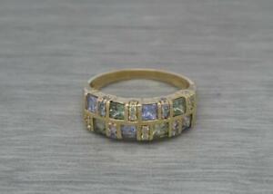 Beautiful 9ct Yellow Gold Green Sapphire & Tanzanite Statement Ring UK Size T