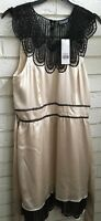 NWT SPOTLIGHT BY WAREHOUSE CREAM & BLACK SILK DRESS FAUX LACE DETAILING SIZE 14