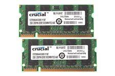 Crucial 4GB 4 G 2X 2GB 2 GB DDR2 800Mhz 2RX8 PC2-6400S SODIMM Laptop Memory RAM