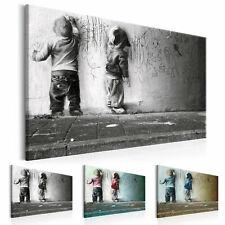 BANKSY KINDER STREET ART GRAU Wandbilder xxl Bilder Vlies Leinwand i-B-0024-b-b