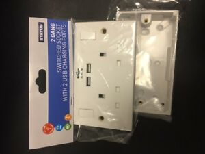 2 Gang Electrical Plug Socket Wall Faceplate with 2 USB Charging Ports+back box